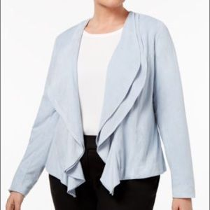 NY Collection Faux Suede Layered & Draped Blazer